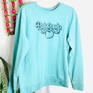 Unisex Patagonia Retro Print Blue Pullover Sweater